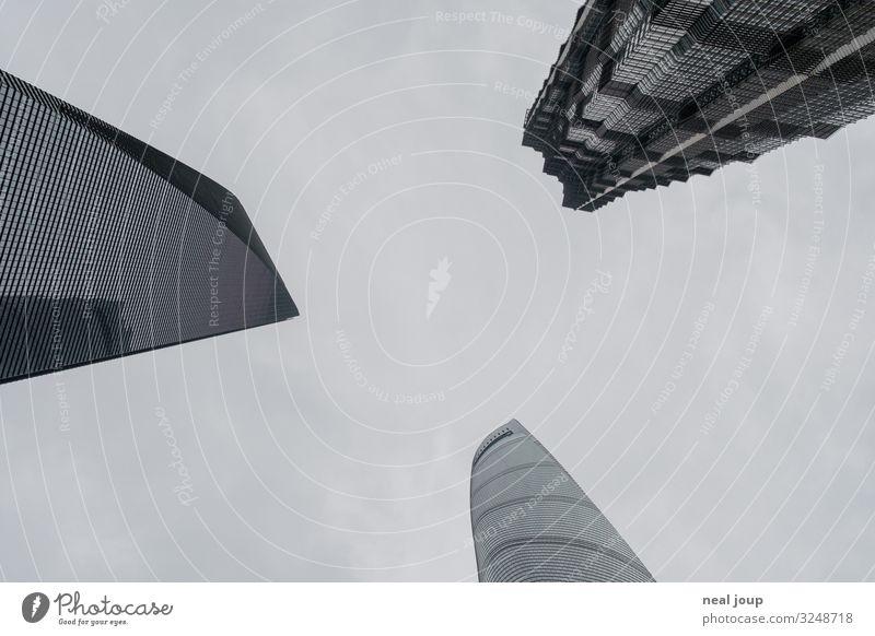 Three brothers Shanghai China Skyline Hochhaus Sehenswürdigkeit Wahrzeichen Jin-Mao-Gebäude Shanghai Tower Shanghai World Financial Center Glas Metall dunkel