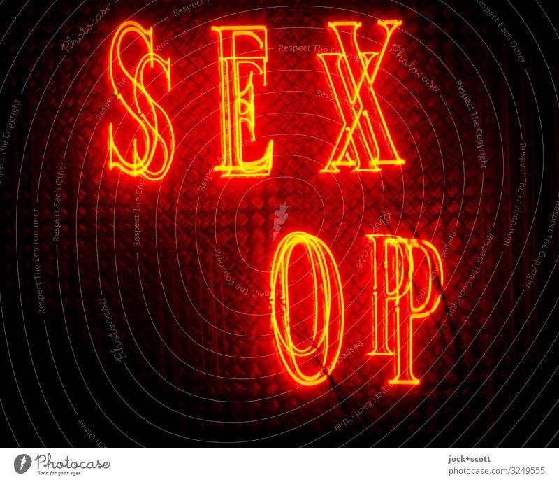 SEX (SH)OP Handel Leuchtreklame Großbuchstabe Typographie kaputt rot Design Dienstleistungsgewerbe Erotik Doppelbelichtung Schaufenster Freisteller Nacht