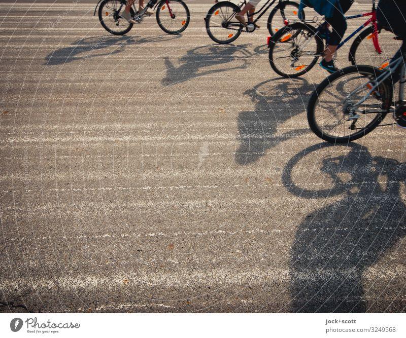 Vier Freunde on Tour Freizeit & Hobby Fahrradfahren Freundschaft 4 Mensch Schönes Wetter Sehenswürdigkeit Landebahn lang Wärme grau Gefühle Stimmung