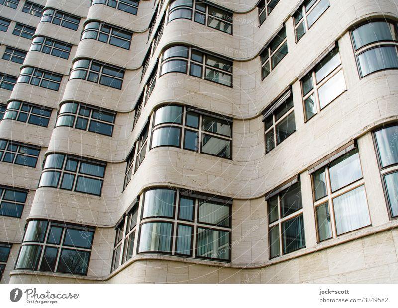 Sachliche Welle einer Fassade Architektur Sachlichkeit Tiergarten Bürogebäude Fenster Sehenswürdigkeit außergewöhnlich Originalität retro viele Einigkeit