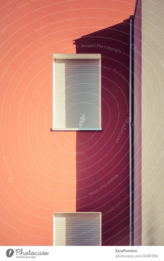 Standort halbschattig Haus Bauwerk Gebäude Architektur Mauer Wand Fassade Fenster Linie rot ästhetisch Design Jalousie Fallrohr geschlossen Halbschatten