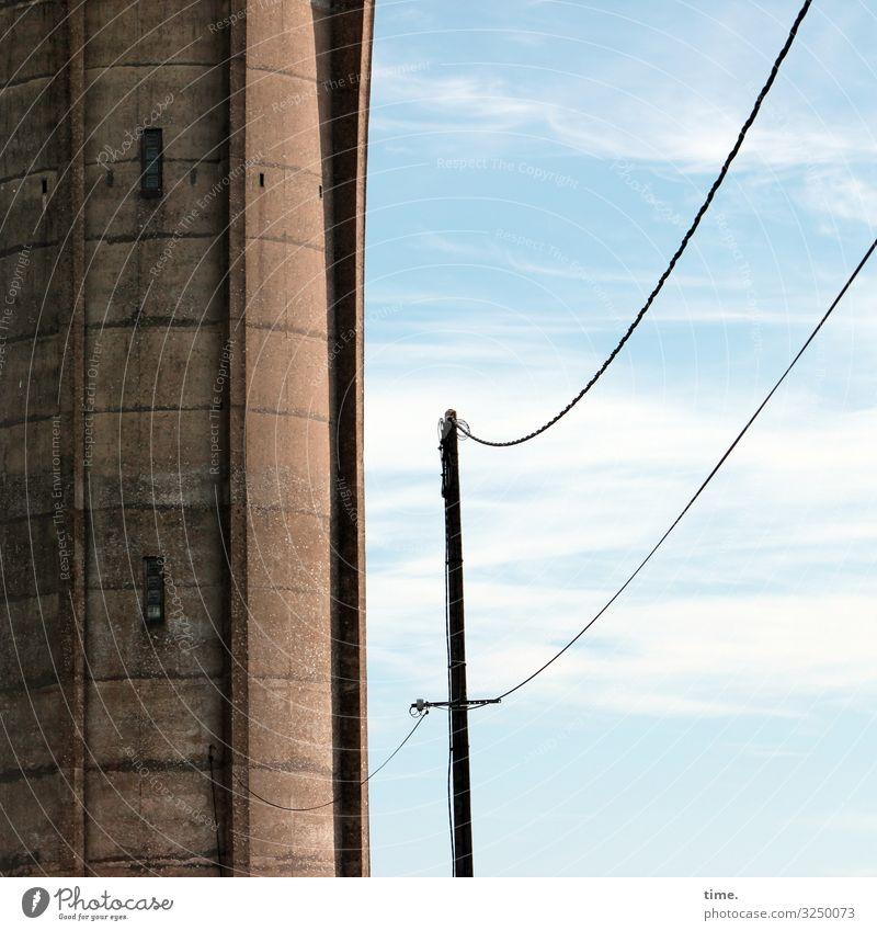Seilschaften #28 Himmel Wolken Wand Zeit Mauer Stein Zusammensein Fassade Arbeit & Erwerbstätigkeit Energiewirtschaft Technik & Technologie Kraft Schönes Wetter
