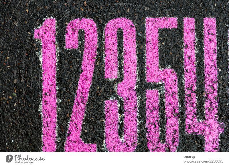 12354 Asphalt schwarz pink Ziffern & Zahlen zählen rechnen Dyskalkulie Mathematik