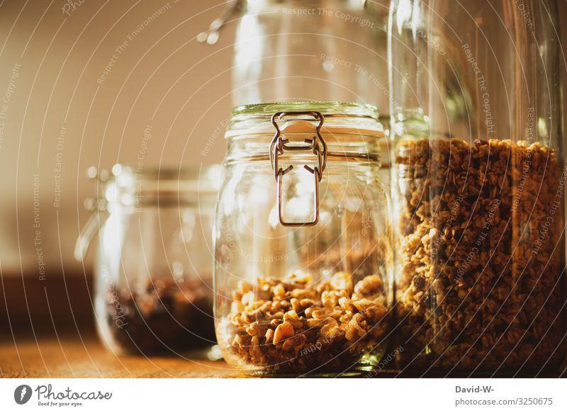 Einmachgläser gefüllt mit Lebensmitteln nachhaltig Nachhaltigkeit einmachgläser Einmachglas Nüsse Haferflocken aufbewahren aufbewahrungsbehälter