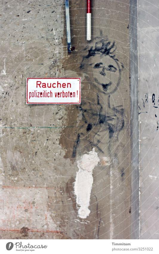 Immer heiter weiß rot Graffiti Wand Mauer braun grau Metall Hinweisschild Ecke Beton Rauchen trashig Industrieanlage Warnschild Konstanz