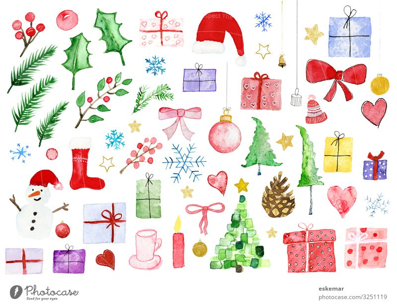 Weihnachten div Motive in Aquarell Natur Weihnachten & Advent Pflanze weiß Baum Winter Feste & Feiern Kunst Dekoration & Verzierung Herz Geschenk Papier viele