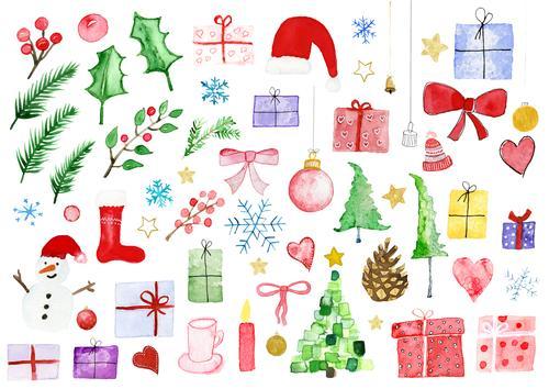 Weihnachten div Motive in Aquarell Winter Dekoration & Verzierung Feste & Feiern Weihnachten & Advent Silvester u. Neujahr Kunst Gemälde Natur Pflanze Baum