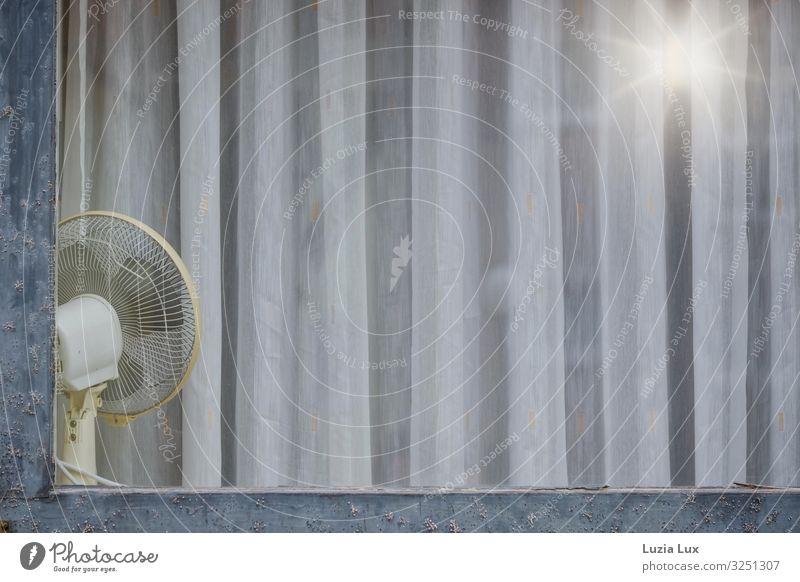 Der Ventilator oder 'der Sommer ist vorbei' Fenster Glas alt kalt blau grau weiß Nostalgie vergilbt altmodisch Licht Lampenschein Gardine Gedeckte Farben