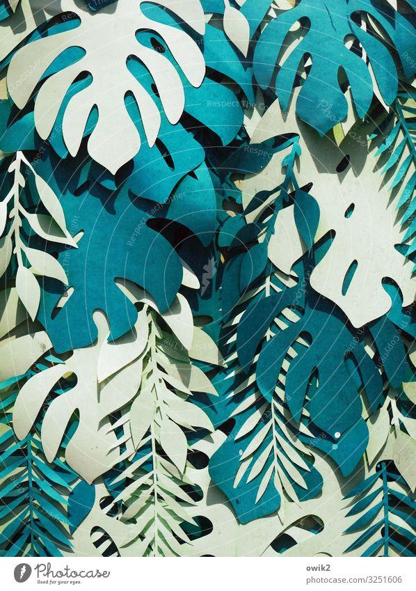 Wildwuchs Stil Kunst Kunstwerk Sammlung Papier ausgeschnitten Blatt Blätterdach Sammelsurium viele verrückt wild blau türkis weiß Nachbildung durcheinander