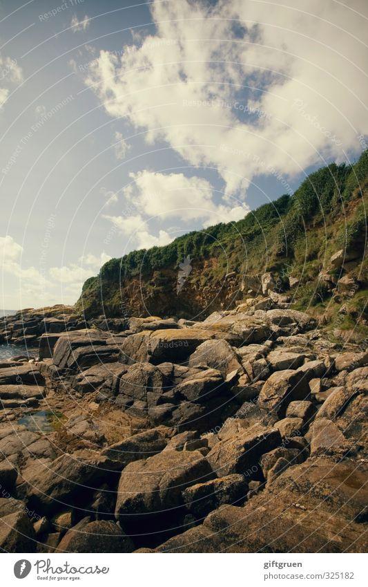 steinbruch Umwelt Natur Landschaft Pflanze Urelemente Erde Wasser Himmel Wolken Schönes Wetter Felsen Küste Bucht Meer Insel natürlich Cornwall England
