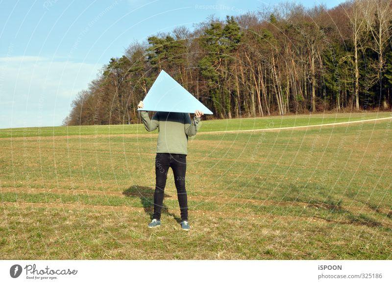 Dreieck Mensch Himmel Jugendliche blau grün Landschaft Wald Erwachsene Junger Mann Umwelt 18-30 Jahre Stil Beine braun Körper maskulin