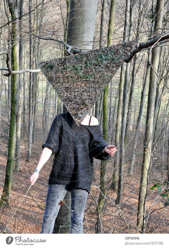 Kopflos feminin Junge Frau Jugendliche Erwachsene Körper Hand Bauch Beine 1 Mensch 18-30 Jahre Natur Baum Wald Pullover ästhetisch außergewöhnlich eckig braun