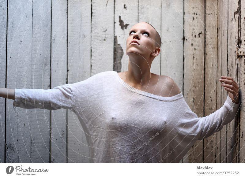 Frau schaut zum Oberlicht vor Bretterwand Jugendliche Junge Frau schön Erotik dunkel 18-30 Jahre Gesicht Erwachsene feminin Stil Raum ästhetisch authentisch