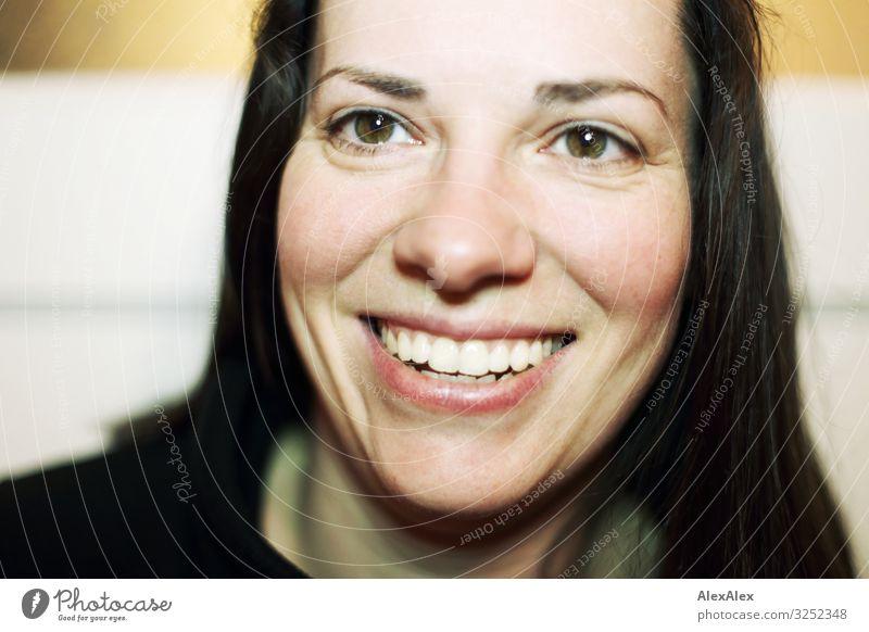 Portrait einer jungen Frau die lächelt Stil Freude schön Leben Junge Frau Jugendliche Erwachsene Gesicht 30-45 Jahre Pullover schwarzhaarig langhaarig Lächeln