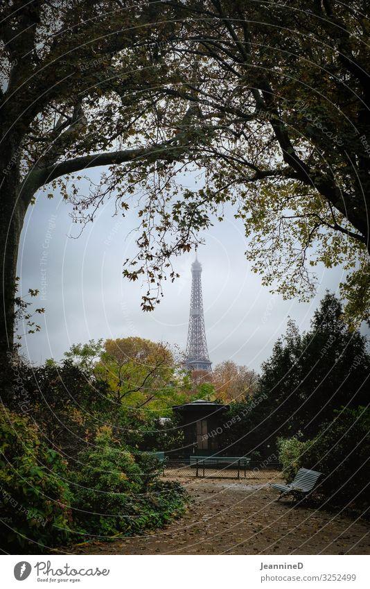 ...und dann erblickte ich den Eifelturm Tourismus Städtereise Herbst Kunstwerk Architektur Paris Frankreich Hauptstadt Tour d'Eiffel Wahrzeichen Park Parkbank