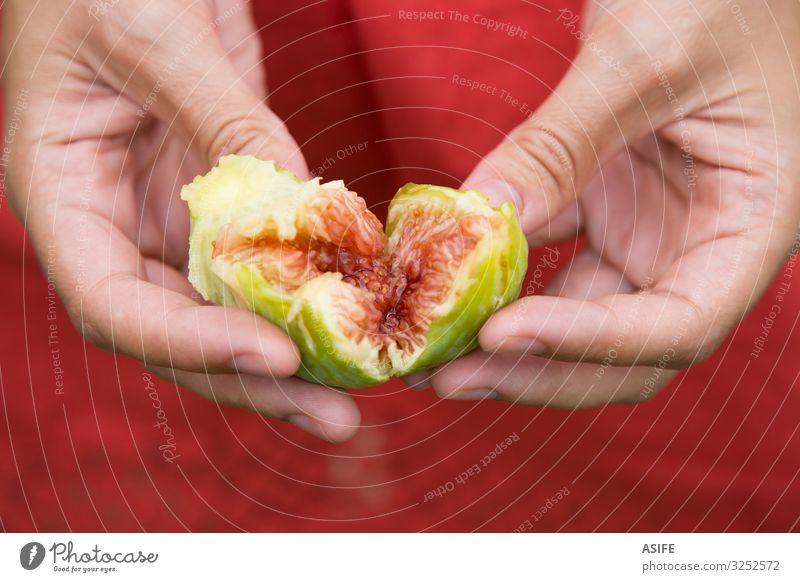 Feigenherz in Händen Frucht Diät Frau Erwachsene Hand Natur Herz frisch saftig grün rot reif Lebensmittel Gesundheit süß organisch mediterran Sehne Halt