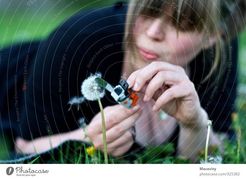 Gartenarbeit Mensch Frau Natur Jugendliche Pflanze 18-30 Jahre Erwachsene Umwelt Wiese Gras feminin Garten Kopf Freizeit & Hobby Frauenbrust liegen