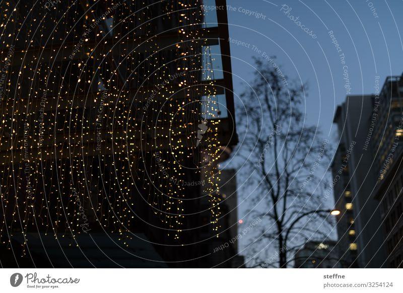 Weihnachtsbeleuchtung in Einkaufsstraße Weihnachten & Advent Zusammensein Fassade Dekoration & Verzierung leuchten Romantik kaufen Stadtzentrum Vorfreude