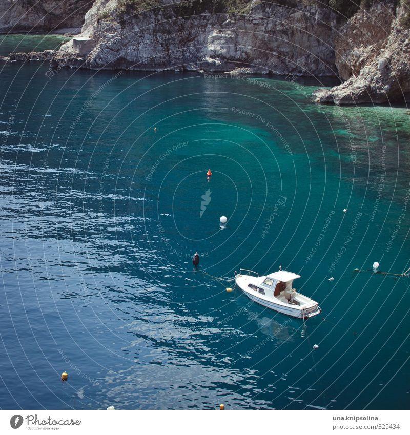 bald. Sommerurlaub Natur Wasser Schönes Wetter Felsen Bucht Meer Adria Klippe Kroatien Istrien Motorboot Hafen Boje blau türkis Freiheit Freizeit & Hobby
