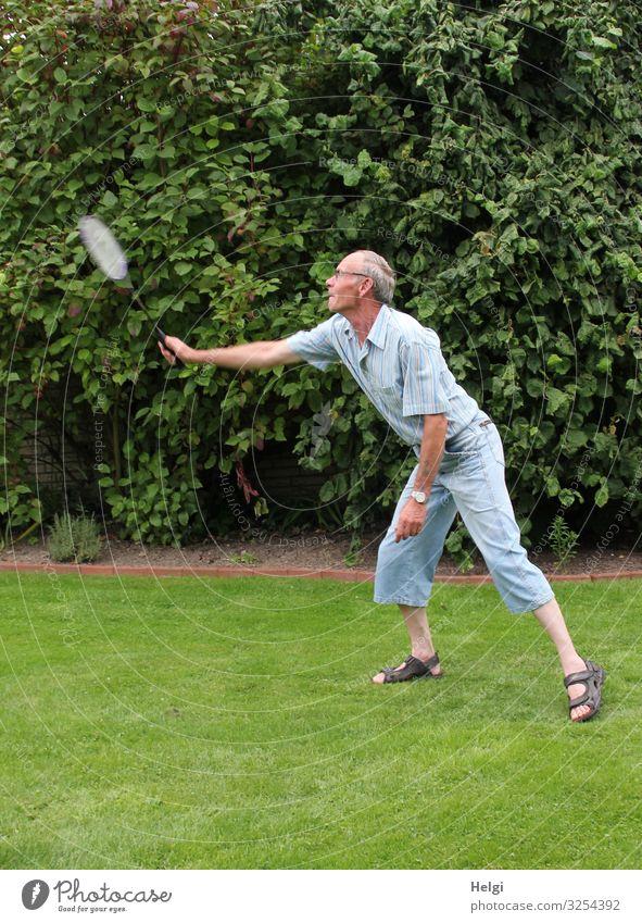 männlicher Senior spielt im Sommer Federball im Garten Freizeit & Hobby Spielen Federballschläger Fitness Sport-Training Badminton Mensch maskulin Mann