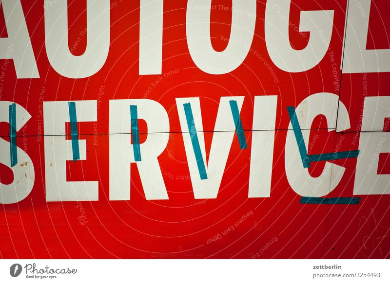 Service Autofenster Schriftzeichen Schilder & Markierungen Werbung Typographie Werbebranche Dienstleistungsgewerbe Werkstatt Reparatur