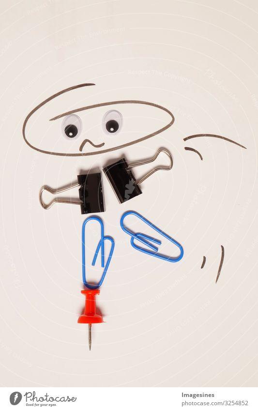 Business Work and Life Balance Konzept. balancierende Person - Comic auf einem Pin. Illustration der Work Life Balance mit Büroklammern und rotem Pin und gezeichnetem Gesicht gemacht. aus Büromaterial hergestellt.