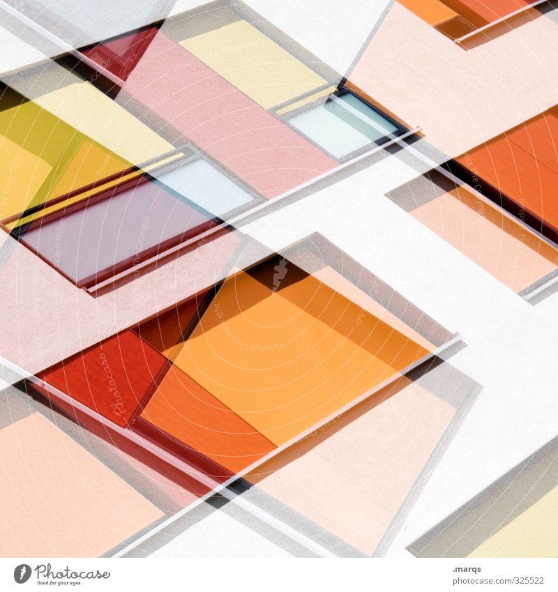 Square Lifestyle elegant Stil Design Fassade Linie außergewöhnlich Coolness trendy modern neu orange rot weiß Farbe Perspektive Doppelbelichtung Hintergrundbild