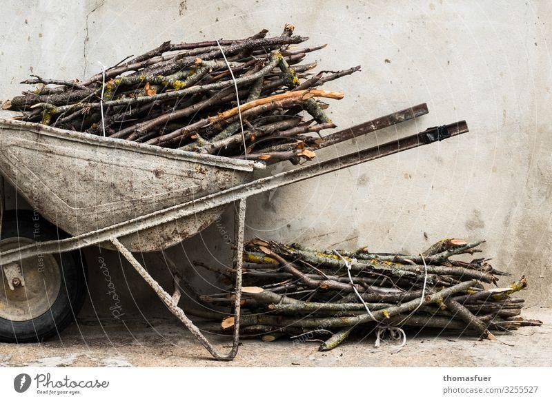 alte Schubkarre mit Holz, Reisig Häusliches Leben Energiewirtschaft Klima Haus Hütte Mauer Wand Brennholz Brennstoff trist nachhaltig Tradition