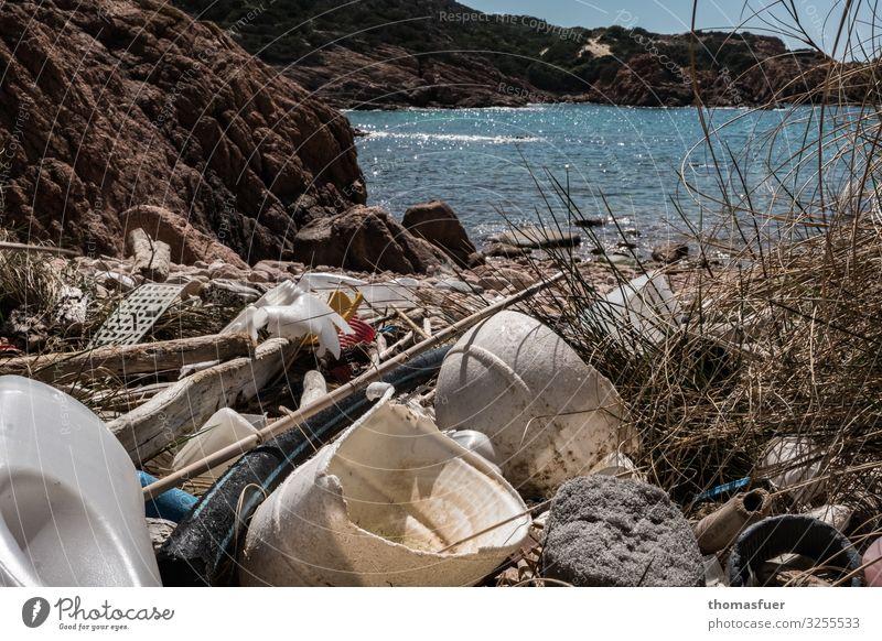 Müll am Strand Geschirr Schalen & Schüsseln Flasche kaufen Ferien & Urlaub & Reisen Tourismus Sommerurlaub Natur Horizont Sonne Klima Klimawandel Schönes Wetter
