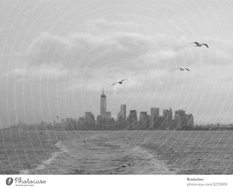 New York, New York. Wasser Wolken Klima Klimawandel Stadt Hafenstadt Hochhaus Sehenswürdigkeit Wahrzeichen World Trade Center Manhattan Verkehr Schifffahrt