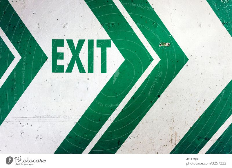 EXIT exit weiß Ausgang Fluchtweg Ausfahrt Angst Schilder & Markierungen Schriftzeichen Pfeil Hinweisschild Notausgang Richtung Buchstaben grün