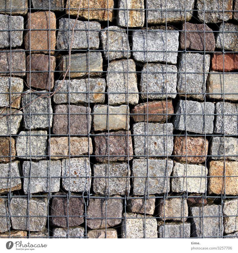 Geschichten vom Zaun (61) Bauwerk Architektur Mauer Wand Gitter Gitterrost Stein Metall Linie Sicherheit Schutz Zusammensein diszipliniert Ausdauer standhaft