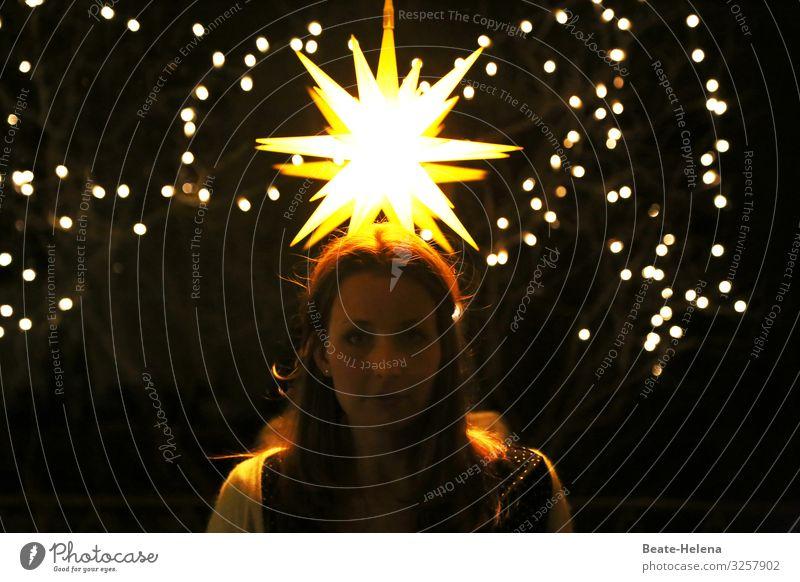 Lichtgestalt Erholung ruhig Meditation Wohnung Feste & Feiern Weihnachten & Advent Junge Frau Jugendliche Kopf Dekoration & Verzierung Lichtschein