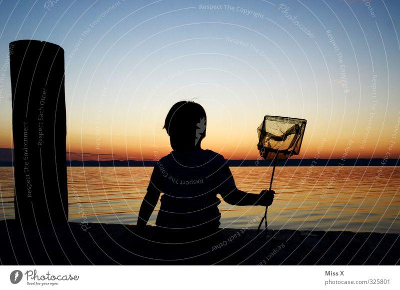 Angler ruhig Freizeit & Hobby Angeln Ferien & Urlaub & Reisen Sommerurlaub Sonne Mensch Kind Kleinkind 1 Wasser Nordsee Ostsee Meer See warten Stimmung Ausdauer
