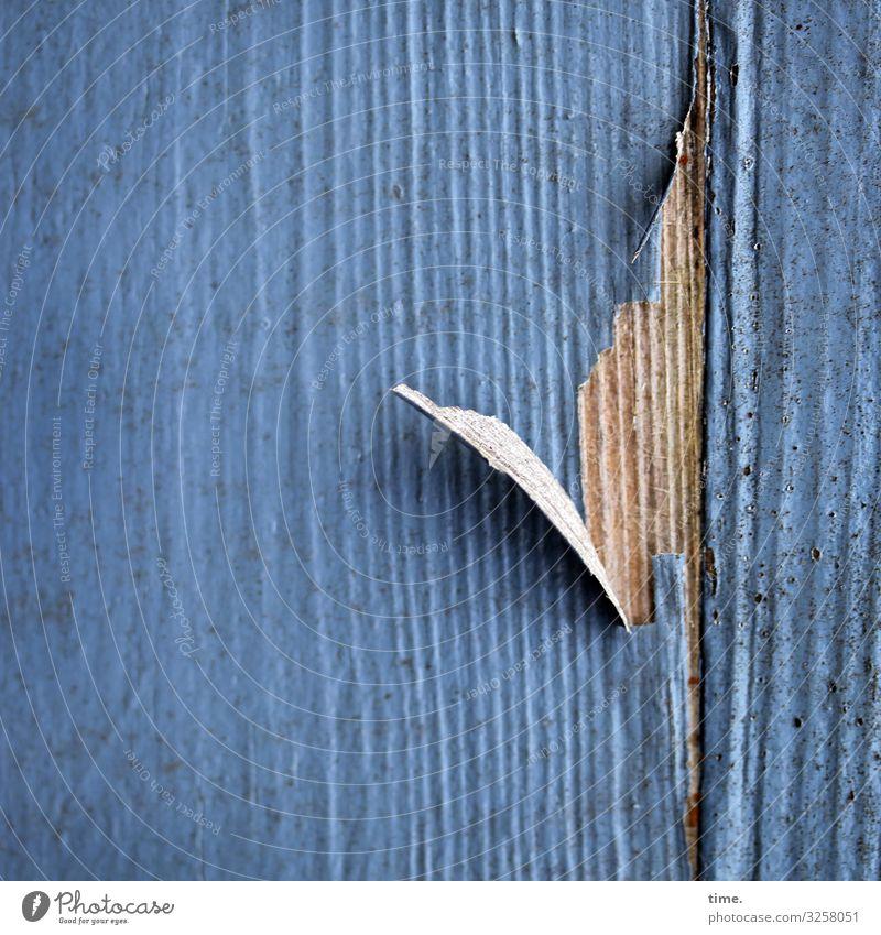 Zeitzeichen Lack Maserung abblättern Holz Linie alt kaputt trashig blau Armut Stress Endzeitstimmung entdecken Inspiration Kraft Nostalgie Schwäche Verfall