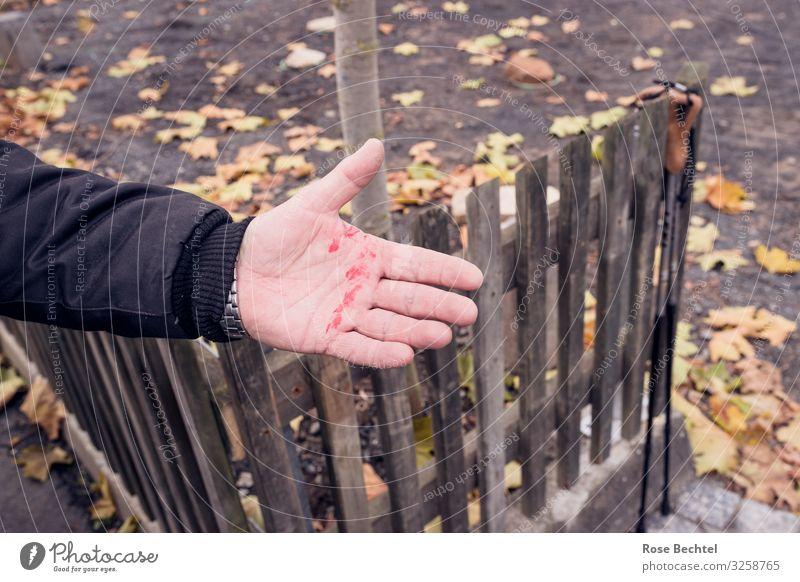 Frisch gestrichen Farbe rot Hand gelb braun berühren streichen Renovieren