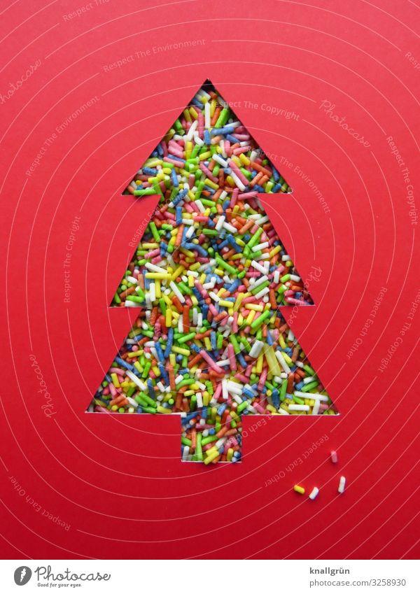 Weihnachtsbaum Schriftzeichen Schilder & Markierungen mehrfarbig rot Gefühle Fröhlichkeit Neugier Farbe Freude Stimmung Wunsch Zuckerstreusel