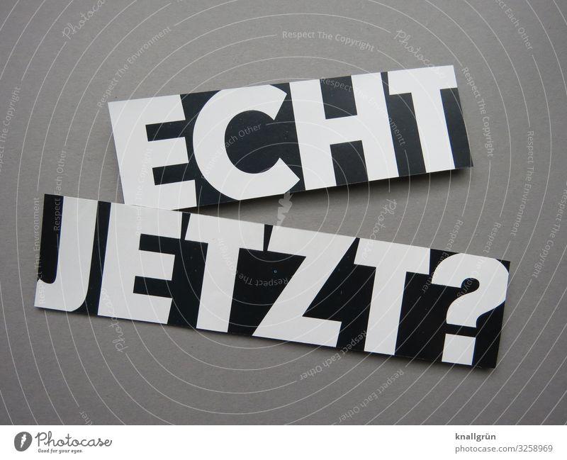 Echt jetzt? Entsetzen wundern Irritation Fragen Kommunizieren Schock Gefühle Neugier Buchstaben Wort Satz Text Kommunikation Typographie Schriftzeichen Sprache