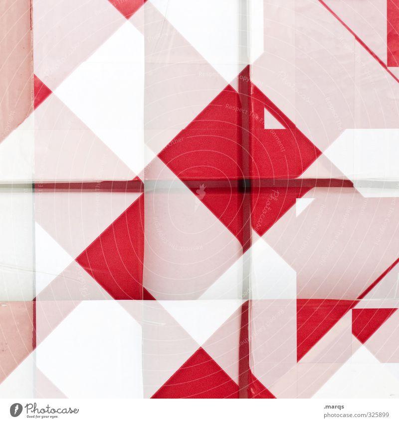 Graticule weiß rot Stil außergewöhnlich Linie Hintergrundbild elegant Lifestyle Design verrückt Coolness Streifen trendy chaotisch Irritation Doppelbelichtung