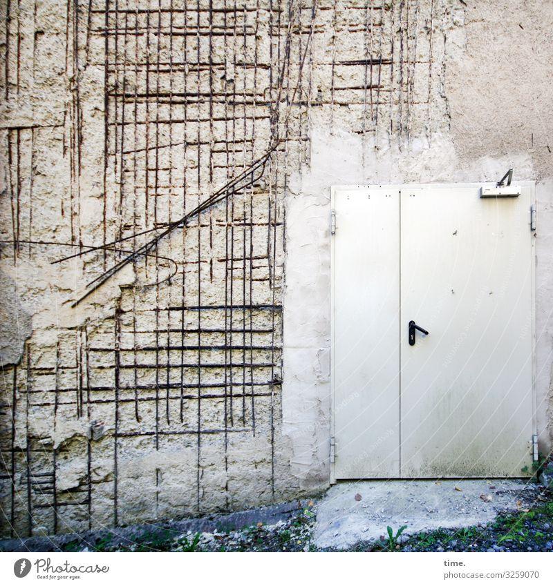 Entrees (XVII) Arbeit & Erwerbstätigkeit Arbeitsplatz Baustelle Handwerk Haus Bauwerk Mauer Wand Tür Eingangstür Gitter Betonwand Sanieren Stein Metall Linie