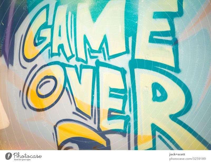 Game Over Stil Freude Straßenkunst Prenzlauer Berg Mauer Wand Graffiti Wort Englisch Großbuchstabe Typographie Coolness groß nah stark gelb Stimmung