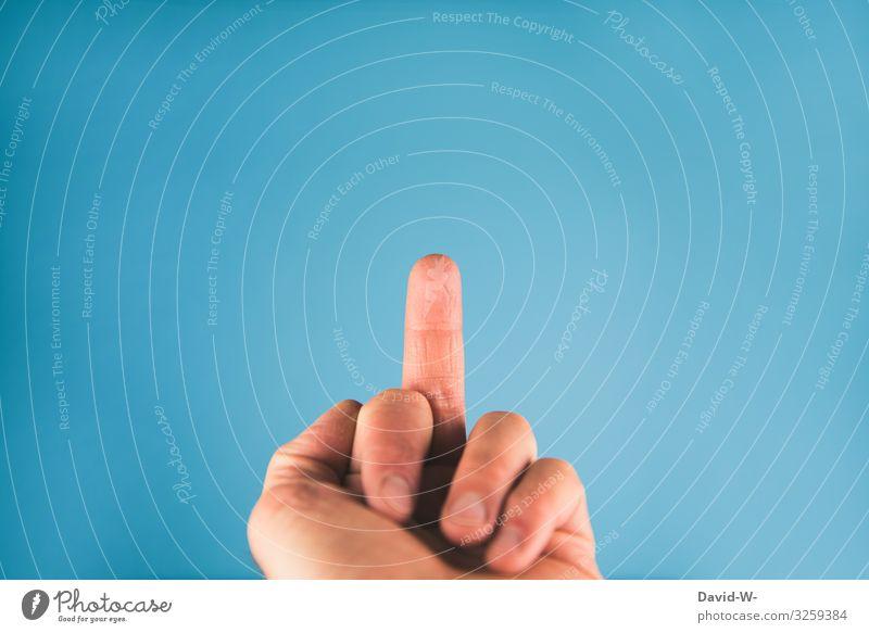 Stinkefinger Lifestyle elegant Mensch maskulin Mann Erwachsene Hand Finger 1 Kunst blau Verachtung Wut Ärger gereizt Feindseligkeit trotzig Rache Mittelfinger