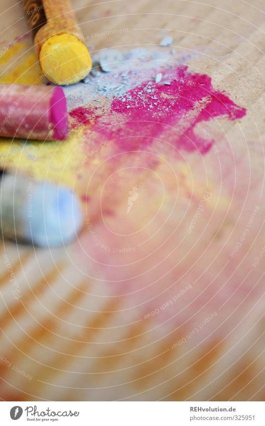 Das Leben ist bunt und grantenstark! gelb Farbstoff Kunst rosa Freizeit & Hobby Kreativität malen zeichnen Kreide Karton hell-blau