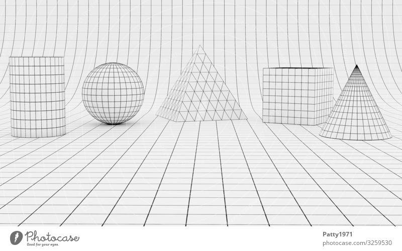 Wireframe geometric forms - 3D Render Wissenschaften Geometrie Würfel Kugel Pyramide Zylinder kegelförmig Drahtgitter Oberflächenstruktur eckig Design komplex