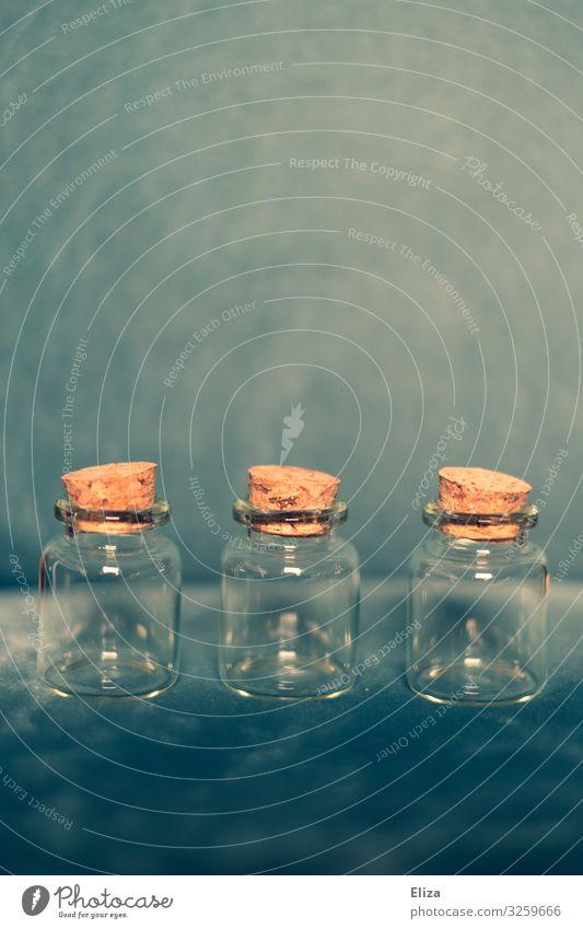 Flasche leer blau Glas geschlossen 3 türkis Behälter u. Gefäße Apotheke aufbewahren Glasflasche füllen Korken Reagenzglas