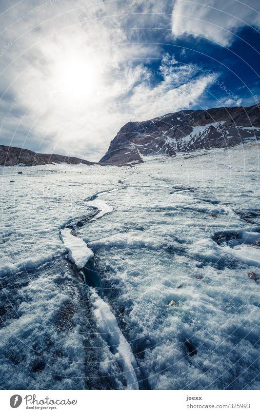 Gletscherschmelze Himmel Natur blau Wasser weiß Sonne Wolken schwarz Berge u. Gebirge kalt Umwelt Wärme Stein braun Klima Schönes Wetter