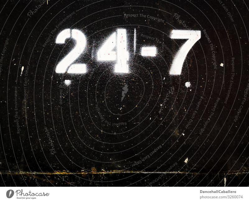 24-7... Wirtschaft Industrie Handel Dienstleistungsgewerbe Business Unternehmen Stadt Stadtzentrum Fußgängerzone Mauer Wand schwarz weiß kaufen offen Zeit immer