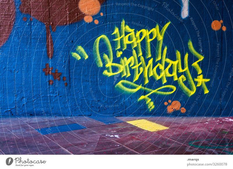 Happy Birthday Gebäude Graffiti Wand Glückwünsche Jubiläum Geburtstag Geburtstagswunsch gelb blau Typographie Schriftzeichen