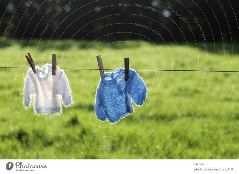 2 kleine gestrickte Pullover auf Wäscheleine blau grün weiß Wiese Garten Baby Schönes Wetter frisch Bekleidung niedlich trocken trocknen