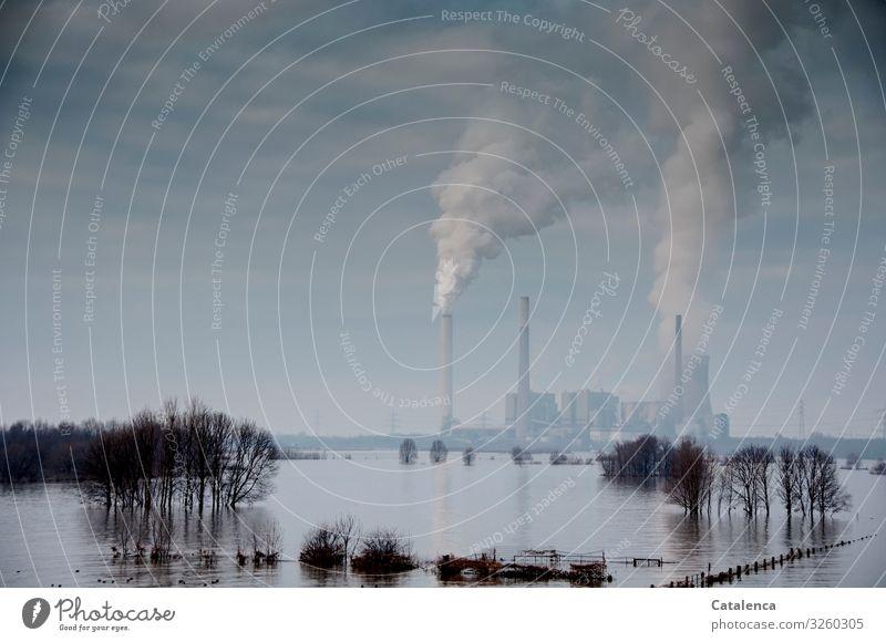 Actio Reactio Technik & Technologie Energiewirtschaft Kohlekraftwerk Industrie Umwelt Landschaft Urelemente Wasser Himmel Gewitterwolken Winter